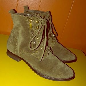 Sam Edelman Mackay Green Suede Combat Ankle Boots